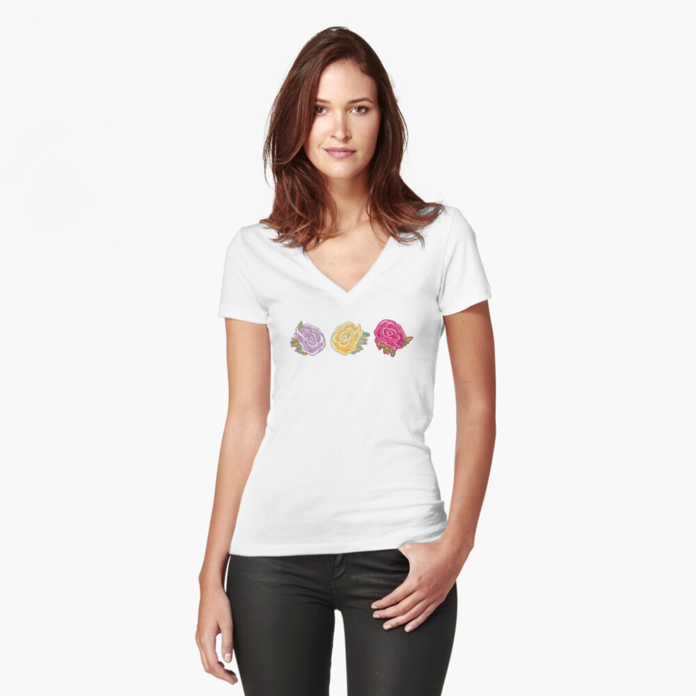 Decorative Roses Fitted V-Neck T-Shirt