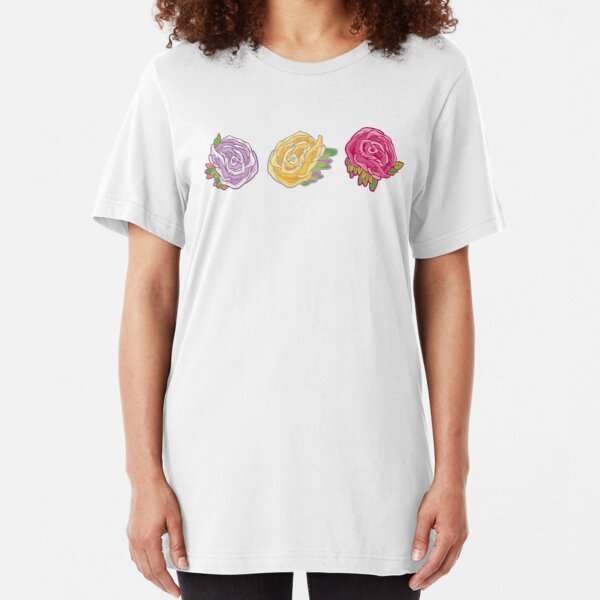 Decorative Roses Slim Fit T-Shirt