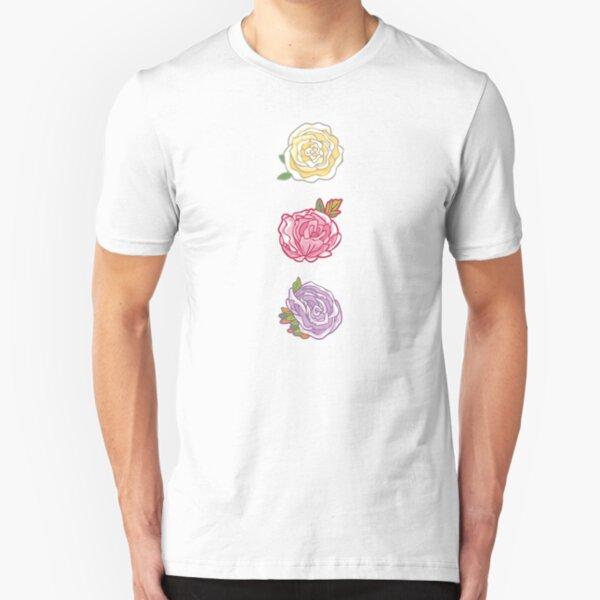 Decorative Roses Slim Fit T-Shirt