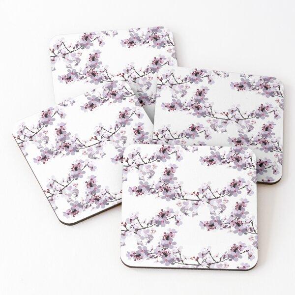 Cherry Blossom Pattern Coasters (Set of 4)