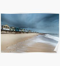 Beach Huts at Southwold Pier Poster