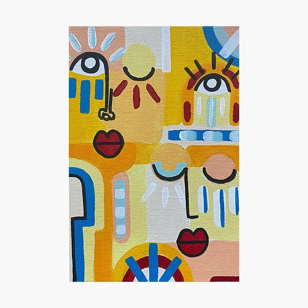 Abstract faces artwork for an original gift orange yellow Photographic Print