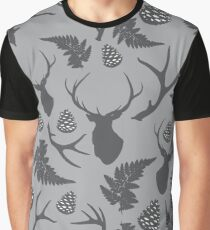 Forest pattern with deer, antler, pine cones and fern Graphic T-Shirt