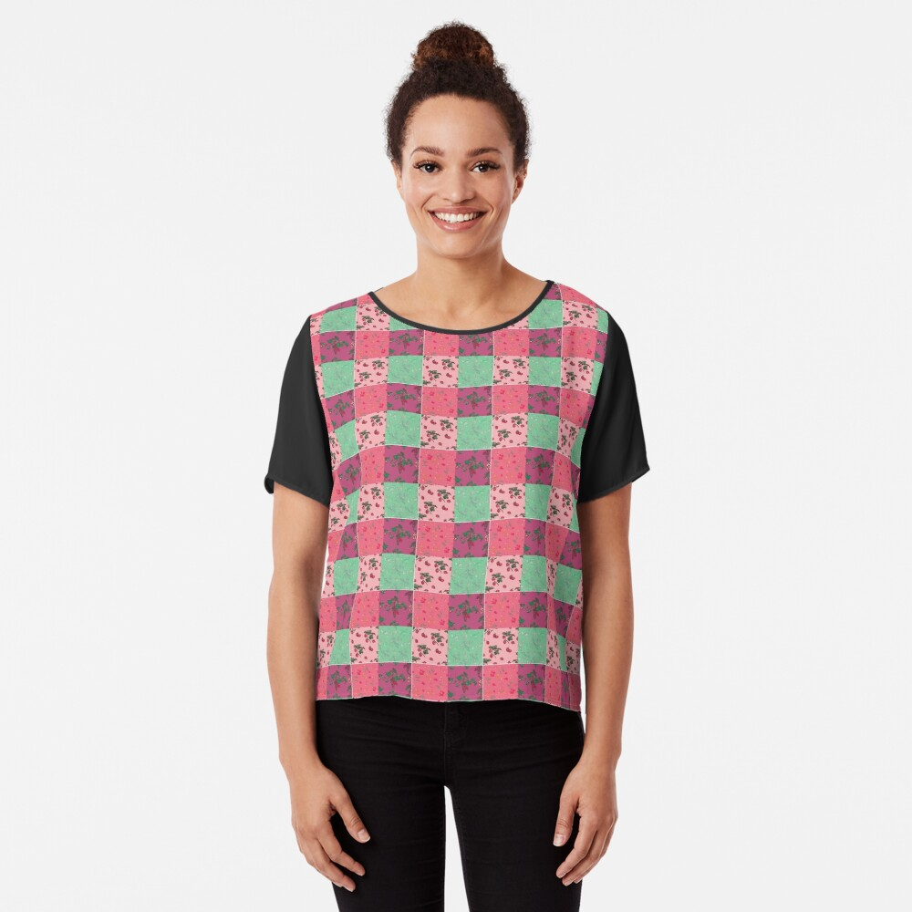 Decorative Berries Pattern Collection Chiffon Top