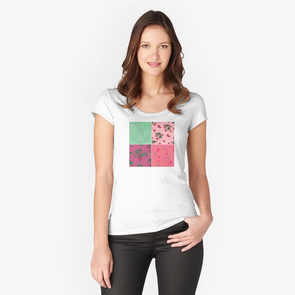 Decorative Berries Pattern Collection Fitted Scoop T-Shirt