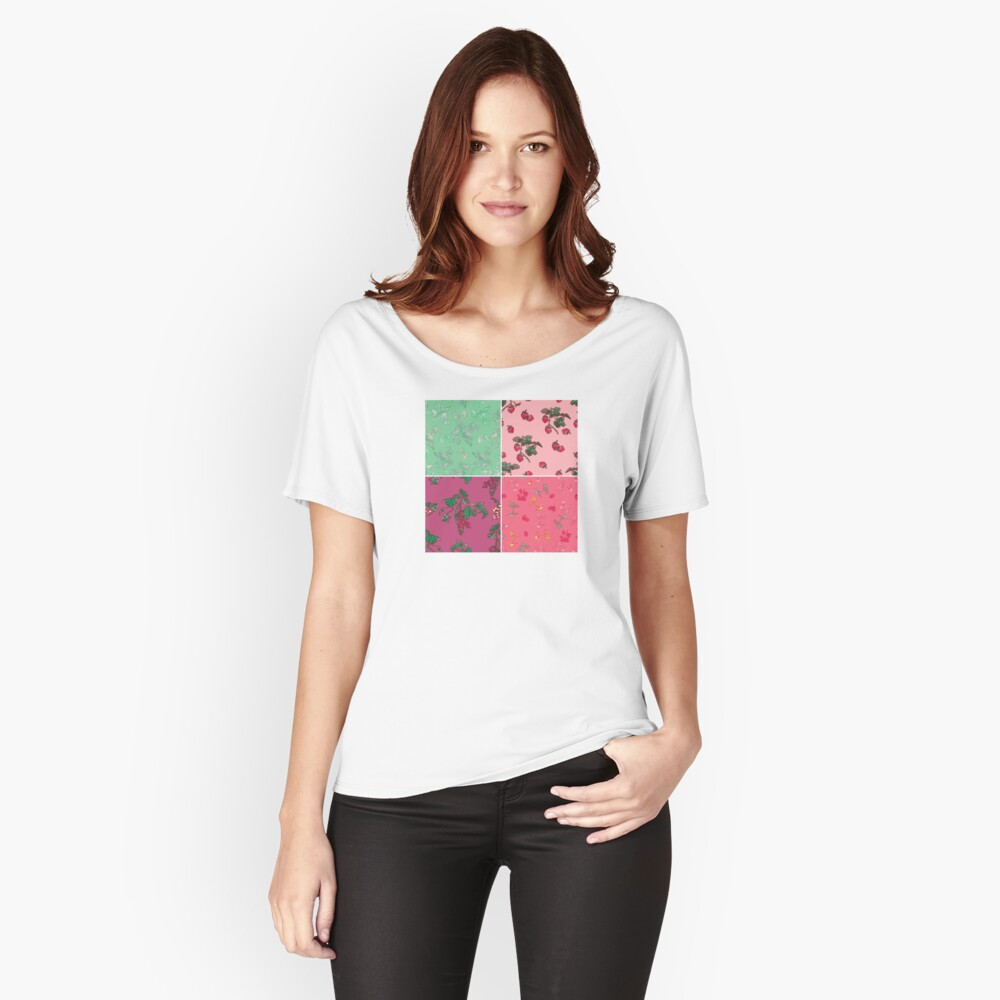 Decorative Berries Pattern Collection Relaxed Fit T-Shirt