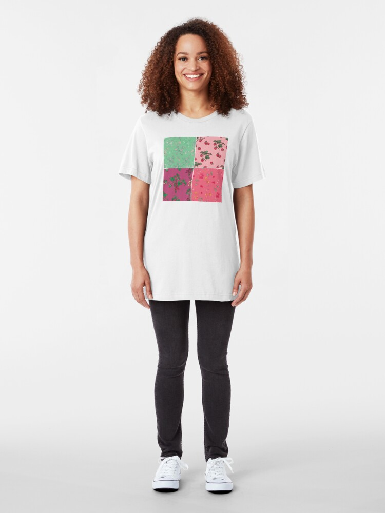 Alternate view of Decorative Berries Pattern Collection Slim Fit T-Shirt