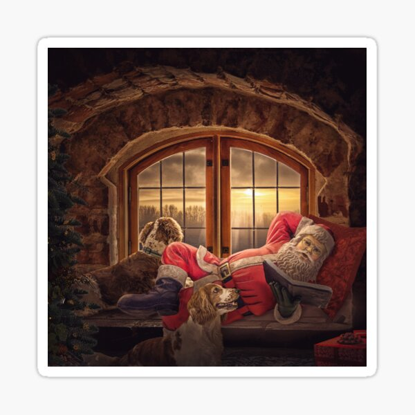 Story time with Santa version 2 (great for pillows and other products with square image) Sticker