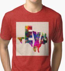 Texas Typographic Watercolor Flag Tri-blend T-Shirt
