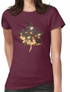 Gold yellow maple leaves autumn asphalt road Womens Fitted T-Shirt