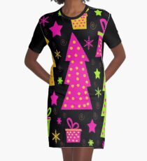 Playful colorful Xmas Graphic T-Shirt Dress