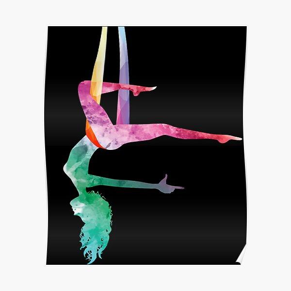 Aerial Yoga Acrobatic Sport Aerialist Gymnastics Watercolor Workout Poster