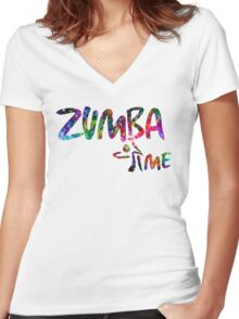 Zumba Time! Women's Fitted V-Neck T-Shirt