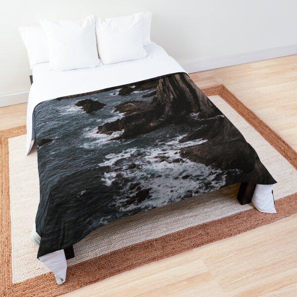 Natural Rock Formation on Sea - Moody Landscape Comforter