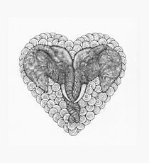 One Love Elephants Drawing Photographic Print