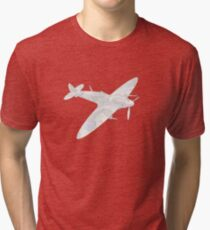 1936 WWII Spitfire Fighter Airplane Tri-blend T-Shirt
