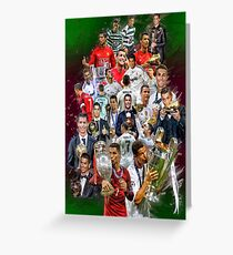 Cristiano Ronaldo (From Sporting de Lisboa Portugal to Real Madrid) + Portugal NT+ trophies Greeting Card