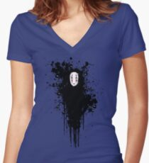 Ink face Women's Fitted V-Neck T-Shirt