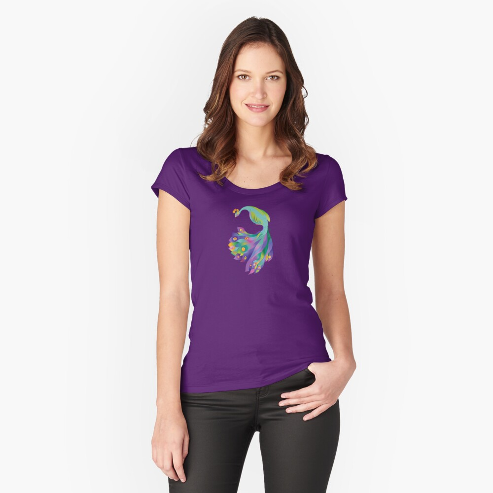 Peacock  Fitted Scoop T-Shirt