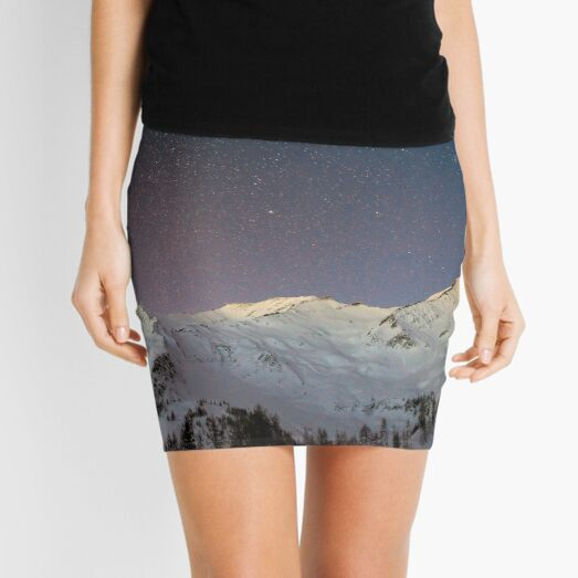 Mountain Covered with Snow Under Stars and Purple Galaxy Mini Skirt