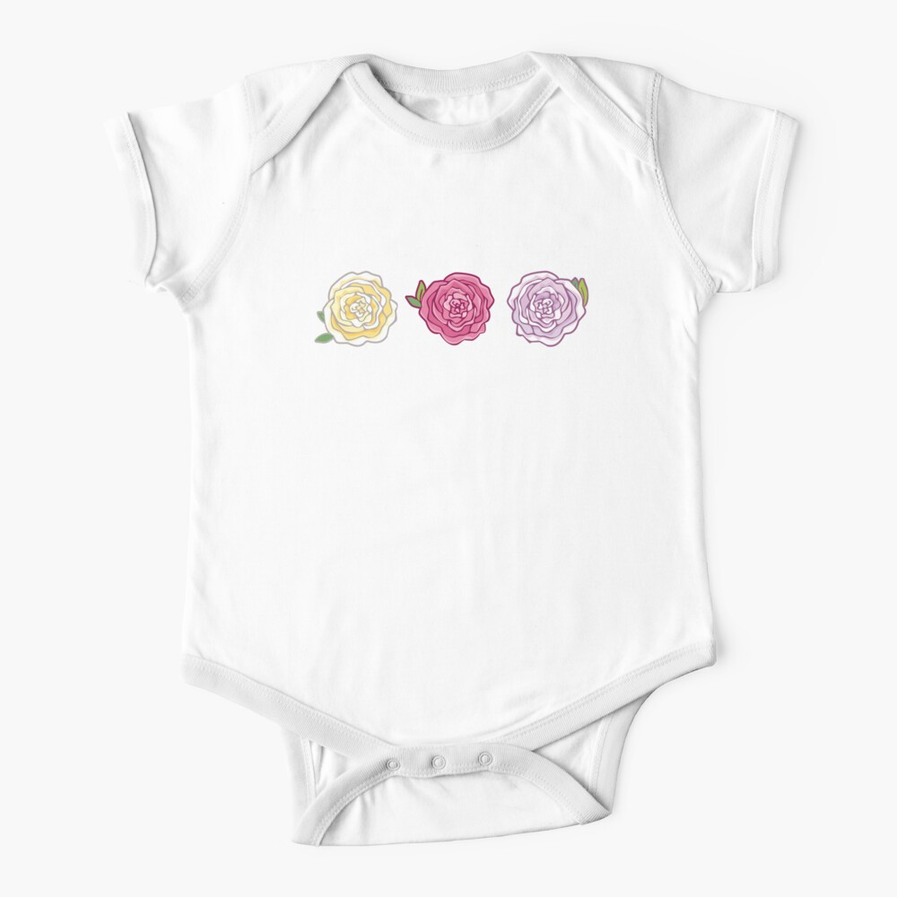 Decorative Roses Short Sleeve Baby One-Piece