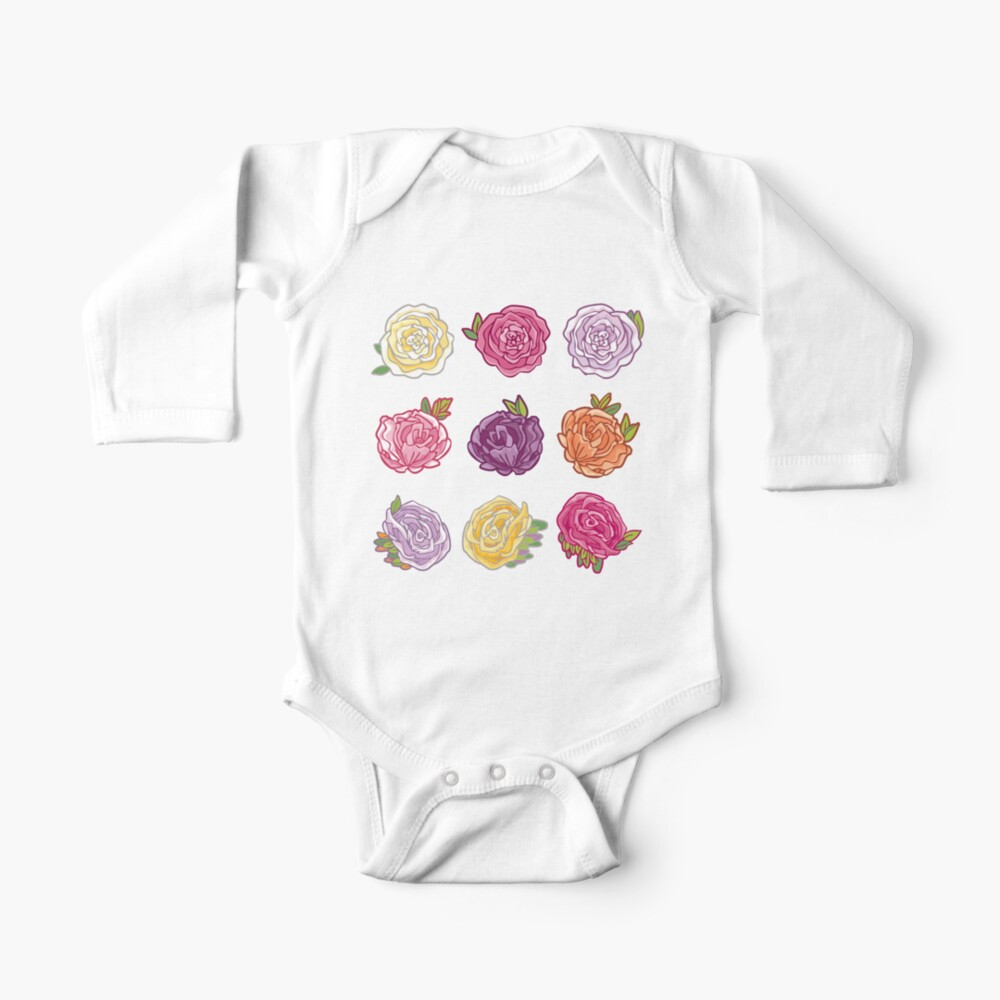 Decorative Roses Baby One-Piece