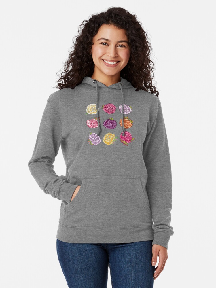 Alternate view of Decorative Roses Lightweight Hoodie