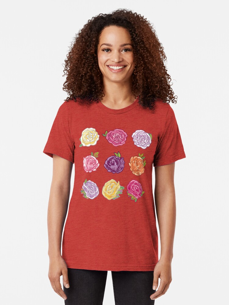 Alternate view of Decorative Roses Tri-blend T-Shirt