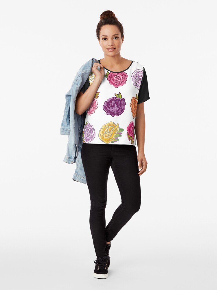 Alternate view of Decorative Roses Chiffon Top