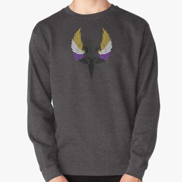 non-binary pride bird skull Pullover Sweatshirt