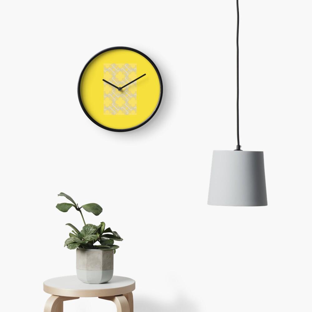 Yellow Geometric Pattern Clock