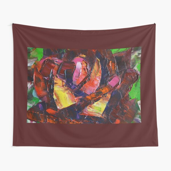 Impasto oil painting, rose flower,expressionism, flower painting. Tapestry