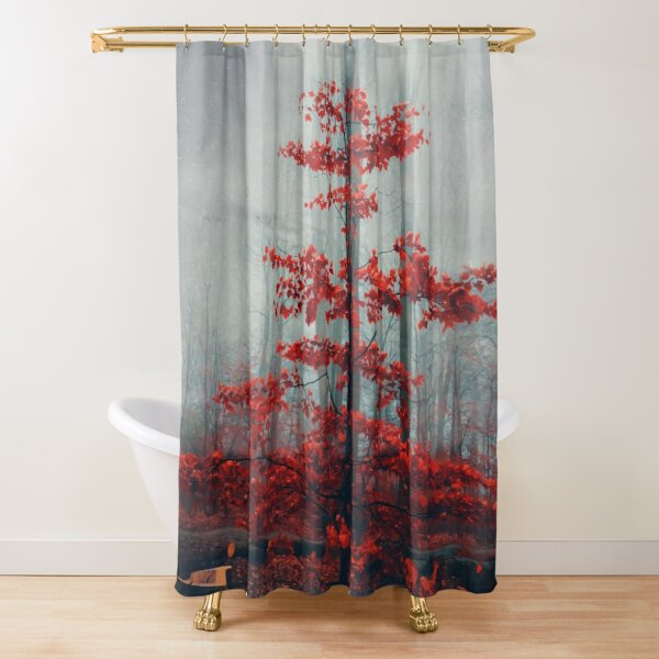 Wonder Tree - Small Beech Tree with Red Fall Foliage Shower Curtain