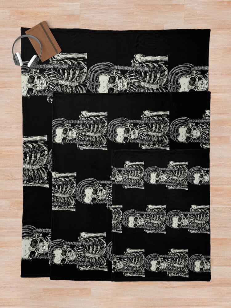 Alternate view of Goth Bones 192 Throw Blanket