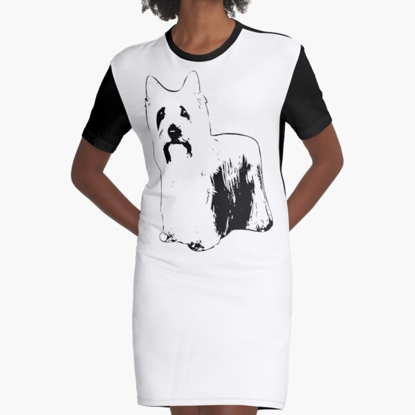 Australian Silky Terrier Abstract Graphic T-Shirt Dress