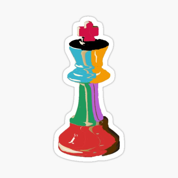 Colorful Chess King Piece Sticker