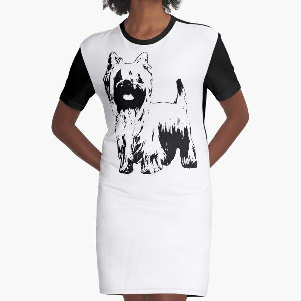 Silky Terrier - Australian Silky Terrier Abstract Graphic T-Shirt Dress