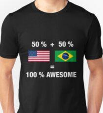 Half Brazilian Half American 100% Awesome Flag Brazil T-Shirt