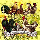 Gazing at Victorian Chickens 3 by Donna Catanzaro