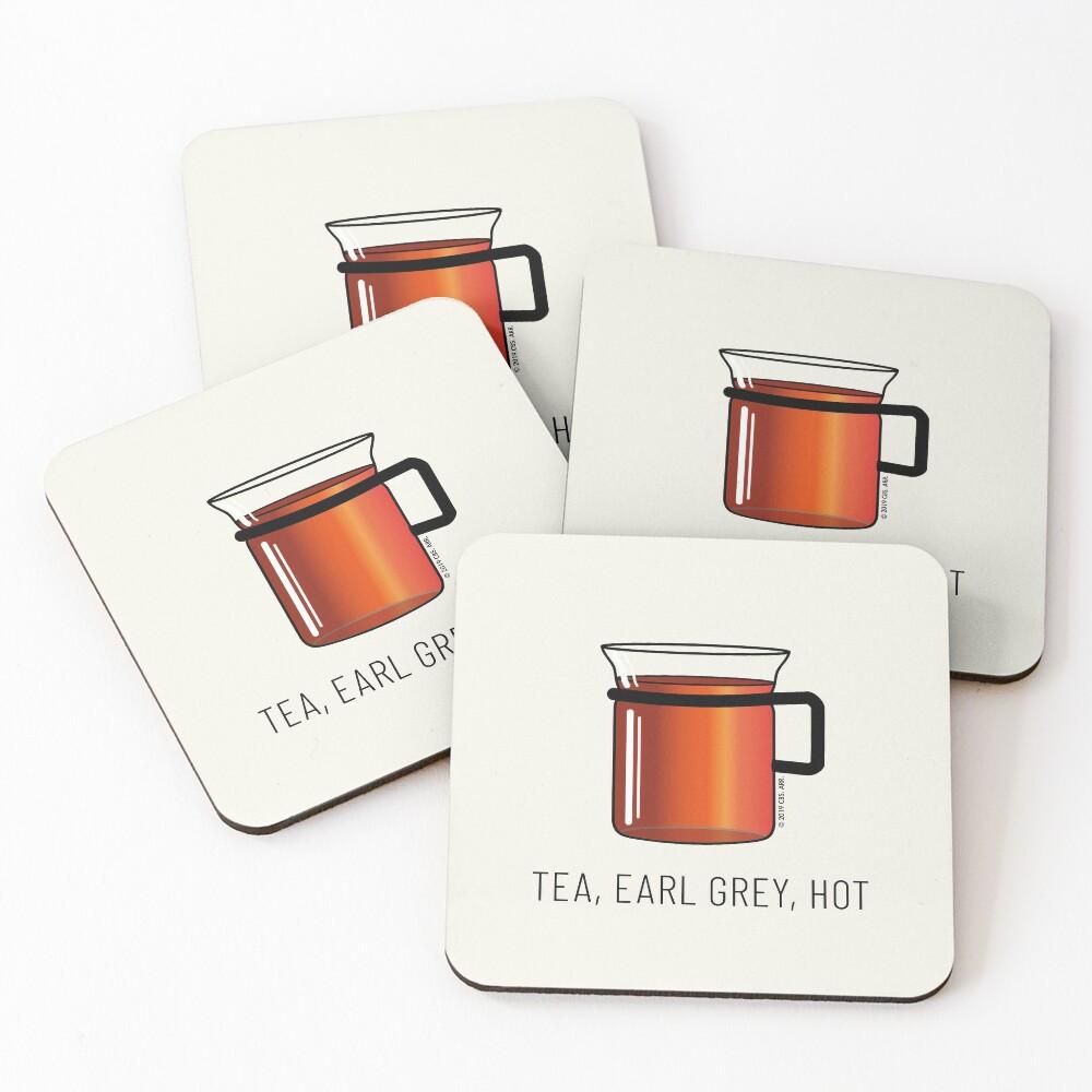 Tea, Earl Grey, Hot - Captain Picard, Star Trek TNG, (light backgrounds) Coasters (Set of 4)