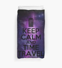Keep calm and time travel Duvet Cover
