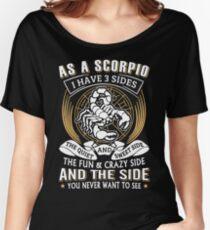 Camiseta ancha para mujer Como A Escorpio, tengo 3 lados