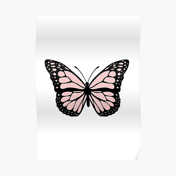 Cute pink butterfly  Poster