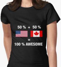 c0aa5d3d96fb Canadian American Half Canada Half America Flag Women s Fitted T-Shirt