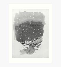 night scene snow Art Print