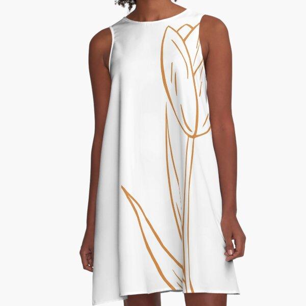 Orange Tulip Drawing A-Line Dress