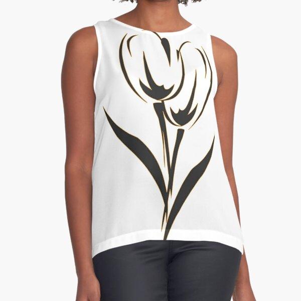 Colored Tulips - Orange, Black, White Sleeveless Top