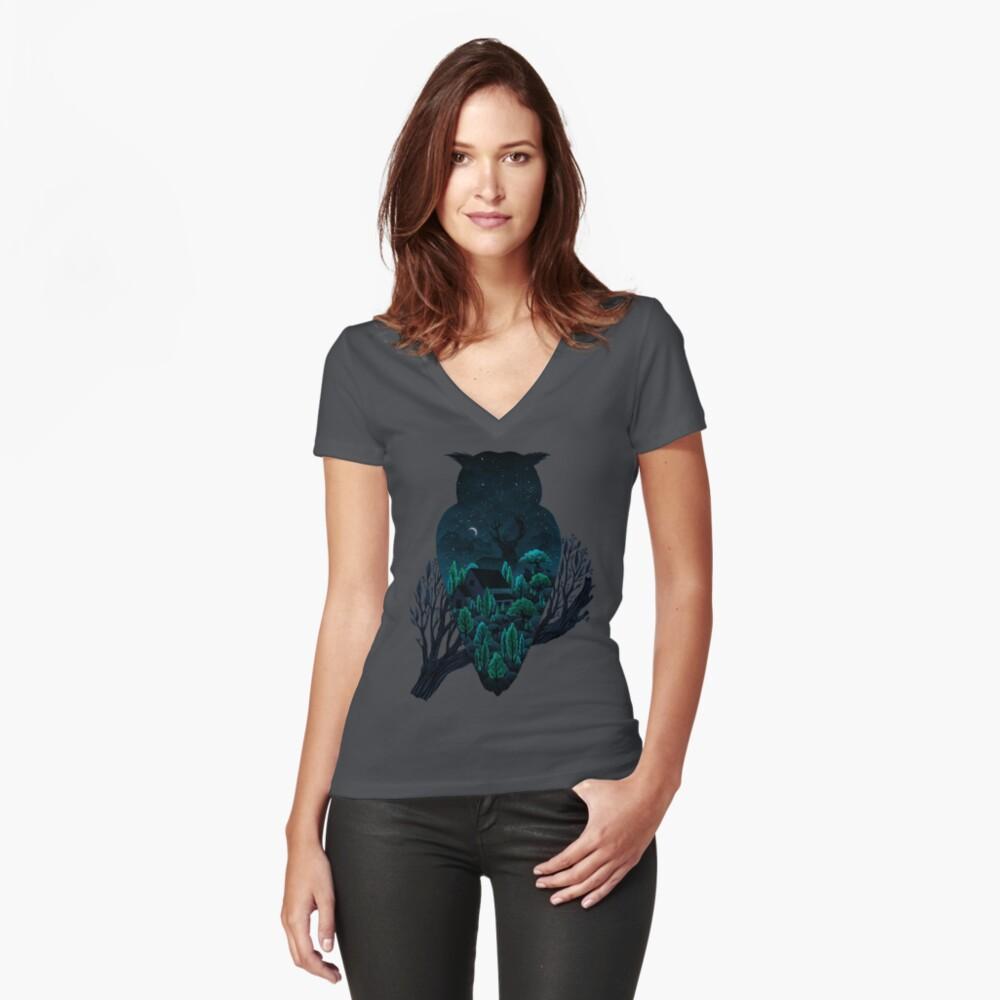 Eulenlandschaft Tailliertes T-Shirt mit V-Ausschnitt