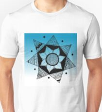 Flower Drawing - Blue Ombre Background (Larger) Unisex T-Shirt