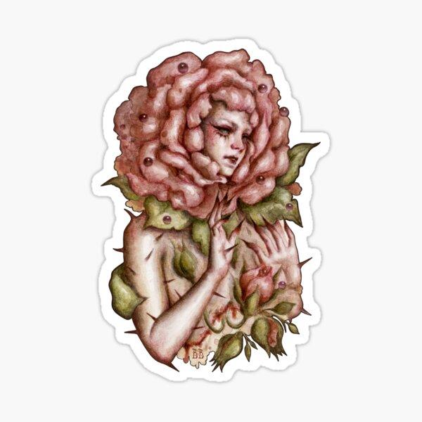 Flor, mujer, surrealista, acuarela, arte Pegatina